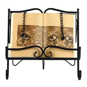 Woopoo Metal Recipe Holder 2 Weighted Chains to Hold Pages in Place and a Kickstand for Durability Collapsible Storage is Light in Weight Support Book and Tablet Placement Cookbook Holder …