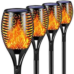 4Pack Solar Torch Lights Outdoor,Waterproof Flickering Flame Torch Lights Outdoor Solar Spotlights Landscape Decoration Lighting Dusk to Dawn Security Path Light for Garden Patio Deck Yard Driveway
