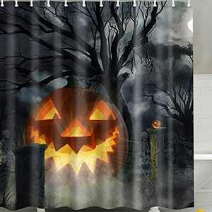 SearchI Halloween Shower Curtain Scary Pumpkin Tree Polyester Fabric Waterproof Decorative Bathroom Curtains with 12 Free Hooks 72 x 72 inches