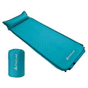 FreeLand Camping Sleeping Pad Self Inflating with Attached Pillow, Compact, Lightweight, Large, Teal Color.