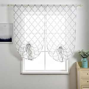 NAPEARL Moroccan Tile Pattern Tier Curtains for Kitchen, Half Window Curtains 63 Inch Length, Sheer Small Window Curtains for Privacy Protect, 1 Panel ( 23W x 47L, Grey )