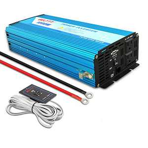 BELTTT 1000W Pure Sine Wave Inverter 12V DC to 110V AC with 2 AC Outlets ,1 USB Charging Port, and Remote Switch (2000W Peak)