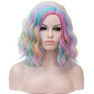 "BERON 14"" Women Girls Short Curly Bob Wavy Wig Body Wave Halloween Cosplay Daily Party Wigs (Rainbow)"