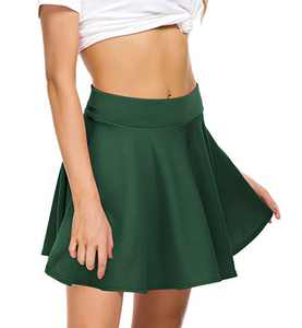 EXCHIC Women Stretch Waist Flared Mini Skater Skirt Casual Pleated Skirts (XL, Mini-Green)