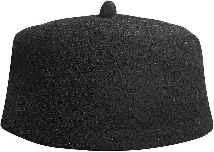 TheKufi Black Felt Wool Fez Hat with Tip Kufi Prayer Cap