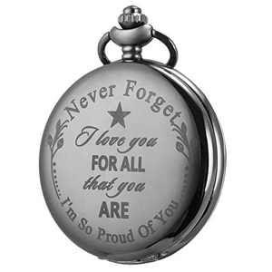 SIBOSUN Pocket Watch Men Personalized Black Chain I Love You for All That You are I am So Proud of You Valentine's Day Anniversary Birthday