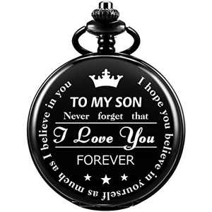 SIBOSUN Pocket Watch Men Chain Fob Quartz Engraved Carved to My Son I Love You, Mom Dad Christmas Black