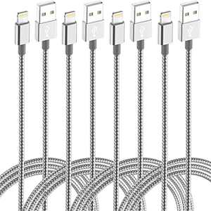 IDiSON Long Charger Cord 4Pack(10/6/6/3ft) iPhone Lightning Cable for Mfi Certified Nylon Braided Power Fast Compatible iPhone 11 Pro Max XS XR 8 Plus 7 Plus 6s 5s 5c Air iPad Mini iPod (Gray White)