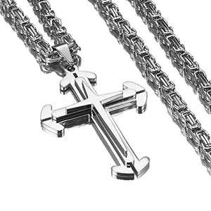 Stainless Steel Cross Pendant Mens Byzantine Chain Necklace 5mm Wide,20-40 inches(Silver, 24 inches)