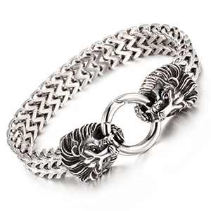 Granny Chic Vintage Mens Stainless Steel Bicycle Chain Large and Heavy Lion Head Biker Bangle Bracelet(Silver)