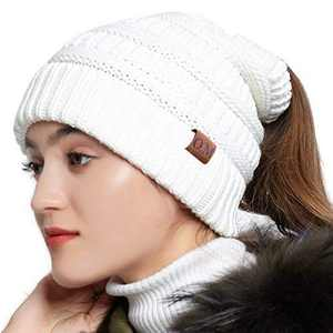 OMECHY Womens Knit Peruvian Beanie Hat Winter Warm Wool Crochet Tassel Peru Ski Hat Cap with Earflap Pom White