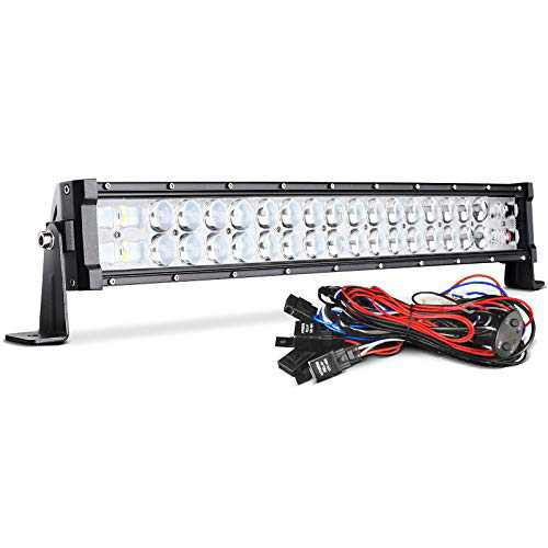 """DWVO LED Light Bar Curved 22'' (24"""" with Mounting Bracket) 300W 9D 45000LM with 10ft Wiring Harness IP68 Waterproof Spot Kit Off Road Driving Light for SUV Bumper Trucks Boats ATV Light Bar"""