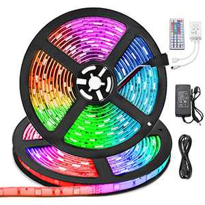 LED Strip Lights 32.8ft Waterproof,10m RGB Color Changing Self-Adhesive LED Lights Strips Flexible with Remote, 300LEDs 5050 Neon Rope Lights, LED Tape Lights for Teen Indoor Home Room Bedroom Decor