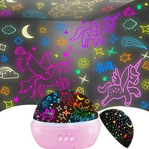Toys for 3-8 Year Old Girls,Kids Night Light Gifts for Girls Age 2-7,Cute Kawaii Kids Children Nursery Lamp for Gifts for 5-9 Years Old Girls Toys(Unicorn&Star Projector)