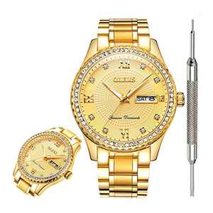 OLEVS Men's Watches Gold Watches for Men Waterproof Watch Inexpensive Mens Luxury Gold Watch with Diamonds Fashion Date Analog Quartz Watch