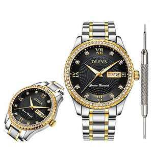 OLEVS Black Watches for Men Waterproof on Sale Men's Watches Roman Numeral Calendar Date Window Wristwatch Stainless Steel Analog Quartz Watch for Men