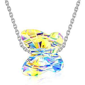 LADY COLOUR Jewelry Gifts for Mom Necklaces for Women Aurora Crystal Necklace Idea for Her Butterfly 925 Sterling Silver Necklace Crystal Fine Jewelry Animal Women Birthday Gifts