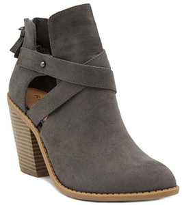 Sugar Women's Venti Transitional Block Heel Ankle Boot Ladies Bootie with Criss Cross Straps and Back Zip Grey 7.5