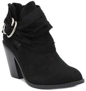 Sugar Women's Victory Transitional Dress Block Heel Ankle Boot Ladies Slouch Bootie with Open Ankle Black 8
