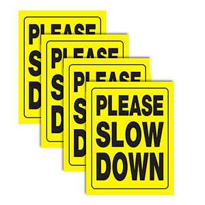"Accelerated Intelligence Inc. Please Slow Down Yellow Yard Sign 18"" x 24"" 