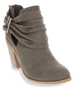 Sugar Women's Victory Transitional Dress Block Heel Ankle Boot Ladies Slouch Bootie with Open Ankle Grey 8.5