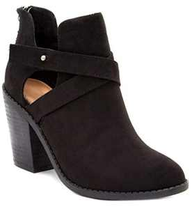 Sugar Women's Venti Transitional Block Heel Ankle Boot Ladies Bootie with Criss Cross Straps and Back Zip Black 8.5