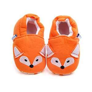 Infant/Toddler Baby Non Slip Soft Sole Cartoon Animal Walking Non-Skid Indoor Shoes Socks/Slippers (0-6 Months, Orange Fox)