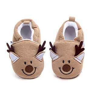 Infant/Toddler Baby Non Slip Soft Sole Cartoon Animal Walking Non-Skid Indoor Shoes Socks/Slippers (6-12 Months, Brown Deer)