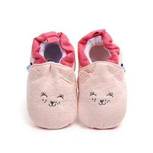 Infant/Toddler Baby Non Slip Soft Sole Cartoon Animal Walking Non-Skid Indoor Shoes Socks/Slippers (0-6 Months, Pink Cat)