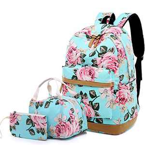 """Lmeison Floral Backpack for Teen Girls, Canvas College School Bookbag Set with Lunch Bag Pencil Case, Lightweight Cute 15"""" Laptop Bag Women Travel Daypack for Work, Green"""