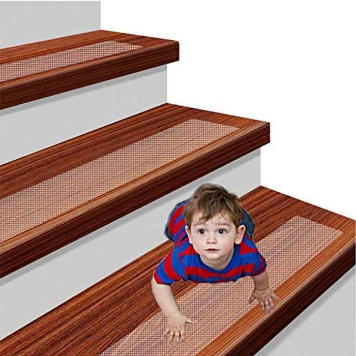 "YISUN 15 Pack Transparent 30"" x 4"" Anti Slip Stair Strip Tape Mat, Anti Slip Stair Treads Tape, Self Adhesive Non-Slip Stair Treads Prevents Slipping for Kids, Elders and Pets"