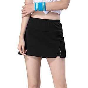 Miqieer Women's Tennis Skirt Active Athletic Lightweight Golf Skirt Inner Shorts Perfect Running Workout Black