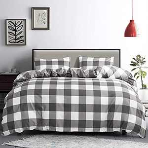 Buffalo Plaid Duvet Cover Set King Size Gingham Grey and White Grid Pattern 3 Pieces Soft Hypoallergenic Geometry Modern Bedding Set with Zipper Ties (1 Duvet Cover+2 Pillowcases)