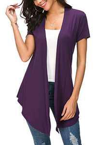 Womens Solid Open Front Short Sleeve Cardigan (S, Dark Purple)