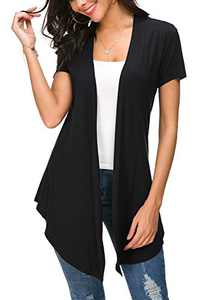 Womens Solid Open Front Short Sleeve Cardigan (M, Black)