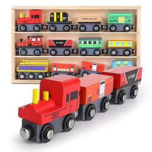 DeXop Wooden Train Set 12 PCS,Toy Train Magnetic Trains Engine Cars for Toddler Kids,Wooden Train Accessories for Boys and Girls,Compatible with All Major Brands