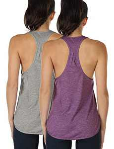 icyzone Workout Tank Tops for Women - Athletic Yoga Tops, Racerback Running Tank Top (L, Grey/Grape)