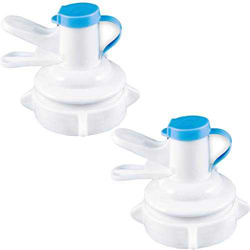 2 Pieces Water Dispenser Valve for 55mm Non Threaded Crown Top Drinking Gallon Bottle Reusable Water Jug Cap Replacement Faucet - Includes Lid Dirt Protector
