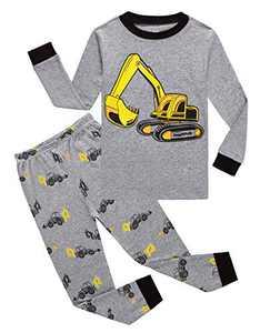 Family Feeling Excavator Little Boys Long Sleeve Pajamas 100% Cotton Pjs Kids Sleepwears Size 6