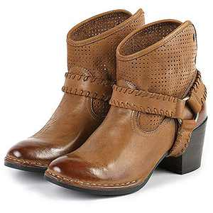Bussola Ankle Boots, Women Woodville High Heel Boots with Metal Ring Cognac Brown EU37/US 6.5