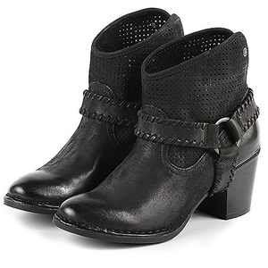 Bussola Ankle Boots, Women Woodville High Heel Boots with Metal Ring Black EU39/US 7.5