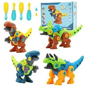 4 Pack Take Apart Dinosaur Toys, Dino Educational Building Blocks Kit with Screwdrivers, DIY Construction Toys STEM Triceratops Learning Game,Great Gift for Kids Boys Girls Ages 3 4 5 6