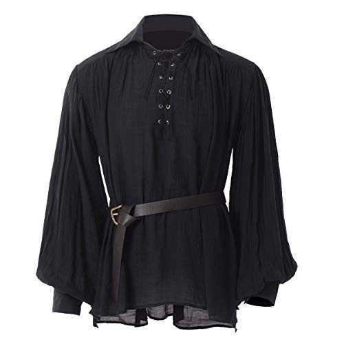 GRACEART Renaissance Men's OR Women's Pirate Shirt Medieval Costume Cotton (Medium, Black-2 with Belt)