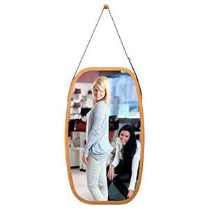 Arched Full Length Wall Mirror Hanging in Bathroom & Bedroom - Solid Wood Bamboo Frame & Adjustable Leather Strap, Makeup Dressing 29L 17W Inch