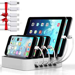 Charging Station for Multiple Devices, MSTJRY 5 Port USB Charging Station Dock Organizer, Compatible with iPhone iPad Cell Phone Tablet (White, 6 Shorts Cables Included)