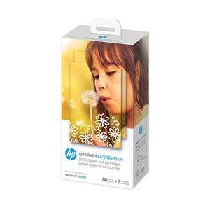 HP Sprocket Studio 4x6 Photo Paper & Cartridges (80 Sheets - 2 Cartridges) Compatible with HP Sprocket Studio.