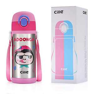 CILLE 16 oz Kids Vacuum Insulated Water Bottles with Straw and Shoulder Strap, Girls & Boys Gifts, Leak Proof Stainless Steel Metal Double Walled Water Bottle for Toddler