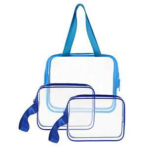 3pcs/pack Clear Cosmetic Bag TSA Approved Travel Toiletry Bag Set with Zipper Vinyl PVC Make-up Pouch Handle Straps for Women Men, Sariok Waterproof Packing Organizer Diaper Pencil Bags (blue)