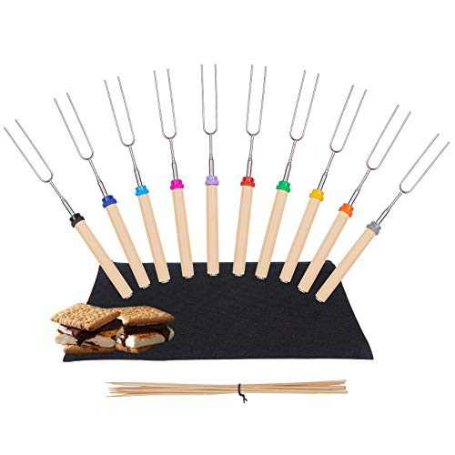 Y-me Marshmallow Roasting Sticks with Wooden Handle Extendable Forks Set of 10Pcs Telescoping Smores Skewers for Campfire Firepit and Sausage BBQ, 32 Inch