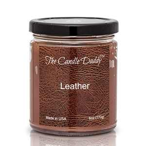 Leather Candle- 6 oz jar Candle - up to 40 Hour Burn time